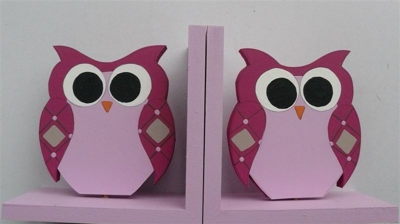 Bookends with cerise owl